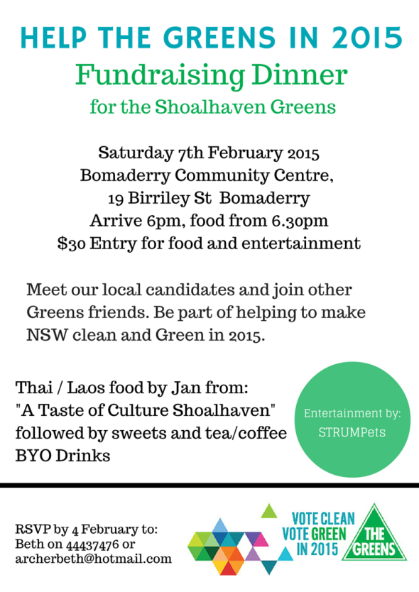 Shoalhaven Greens Fundraiser Flyer